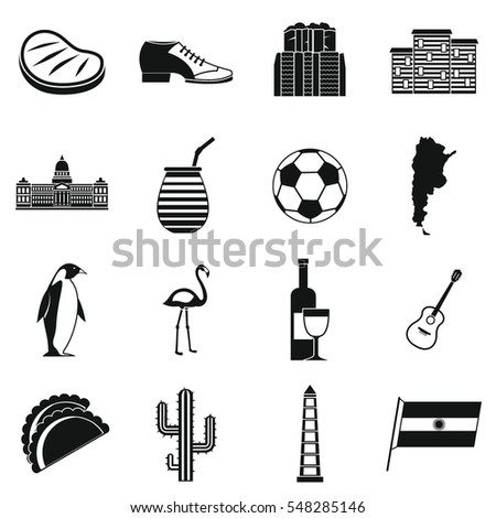argentina travel items icons
