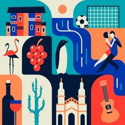 Argentina, vector flat illustration, icon set, color background. House, waterfall, football, flamingo, grape, penguin, dance, wine, cactus, building, guitar.