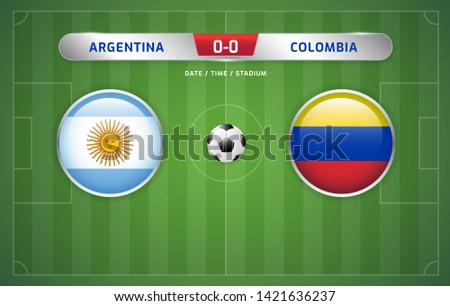 Argentina vs Colombia scoreboard broadcast template for sport soccer south america's tournament 2019 group B and football championship vector illustration