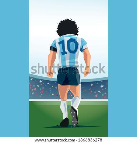 argentine flag maradona in a