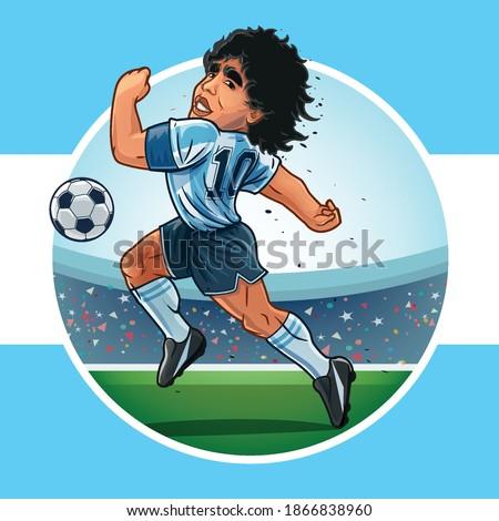 argentine flag with maradona in