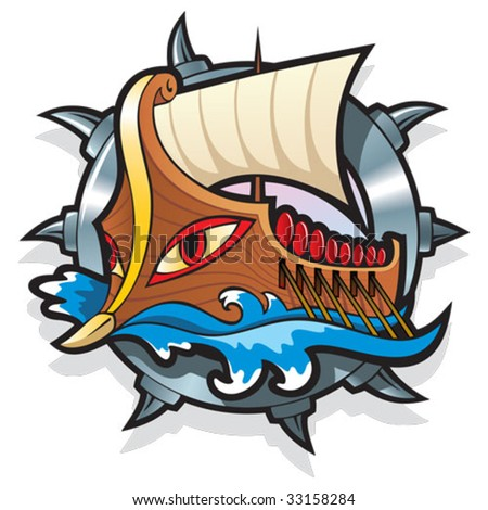 Argo, in Greek mythology, the legendary ship on which Jason and the Argonauts sailed to retrieve the Golden Fleece, vector illustration