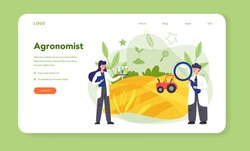 Argonomist web banner or landing page. Scientist making research in agriculture. Idea of farming and cultivation. Organic harvest selection. Isolated vector illustration