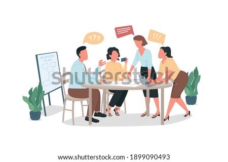 Arguing coworkers flat color vector faceless characters. Office meeting with bad communication. Conflict at workplace. Brainstorming isolated cartoon illustration for web graphic design and animation