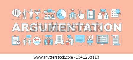 Argumentation word concepts banner. Persuasion methods, facts substantiation. Presentation skills. Professional public speaker. Website. Isolated typography with linear icons. Vector illustration Stock fotó ©