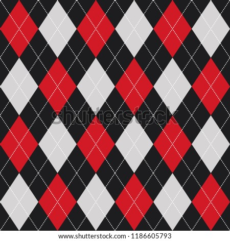 Argyle Checkered Seamless Pattern Red and Black. Vector.