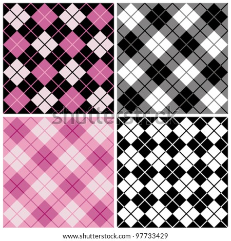 Argyle-Plaid Pattern in trendy pink and black repeats seamlessly. Tiles are on separate layers and colors are grouped for easy editing.
