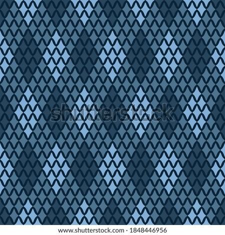 Argyle plaid pattern simplicity concept monochrome blue diamond motif. Simple geo allo ver print block for textile, fashion garment, decoupage paper, patchwork fabric, wrapping cloth, polo t shirt Foto stock ©