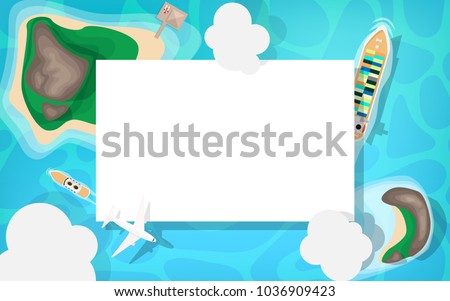 Ariel view-top down view- of the sea side with blue sea ocean, cruise ship small speed boat, white commercial airplane and cloud in the sky with copy space for your text in the white background
