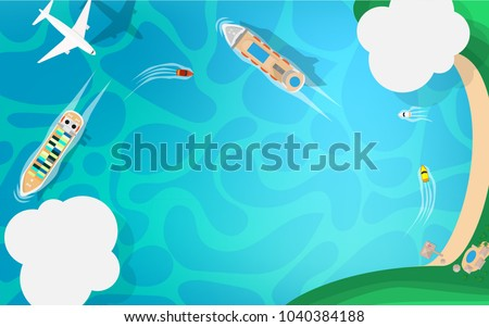 Ariel view-top down view- of the sea side with blue sea ocean, cruise ship small speed boat, white commercial airplane and cloud in the sky with copy space for your text