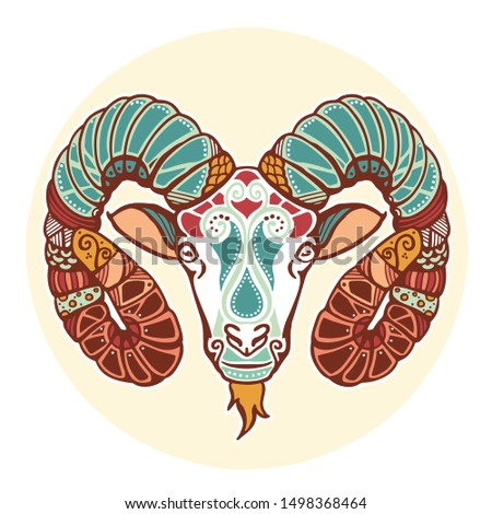 Aries zodiac icon. Zodiac signs. Vector illustration.