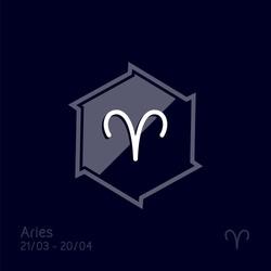 Aries zodiac sign. Astrology symbol vector illustration.