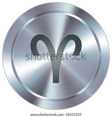 Aries zodiac sign horoscope icon on round stainless steel modern industrial button
