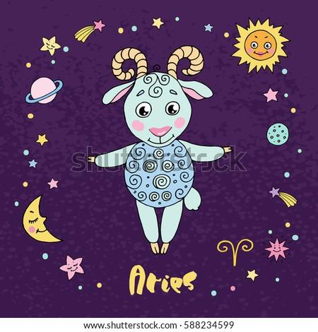 aries zodiac sign on night sky