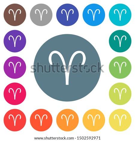 aries zodiac symbol flat white