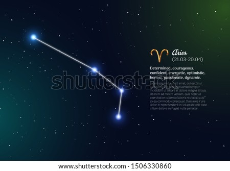 Aries zodiacal constellation with bright stars. Aries star sign and dates of birth on deep space background. Astrology horoscope prediction with unique positive personality traits vector illustration