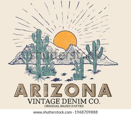 Arizona Cactus line vector t-shirt design. desert vibes artwork. Stockfoto ©