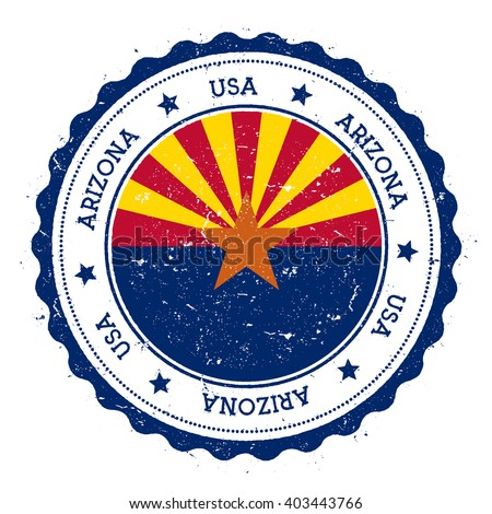 arizona flag badge. grunge...