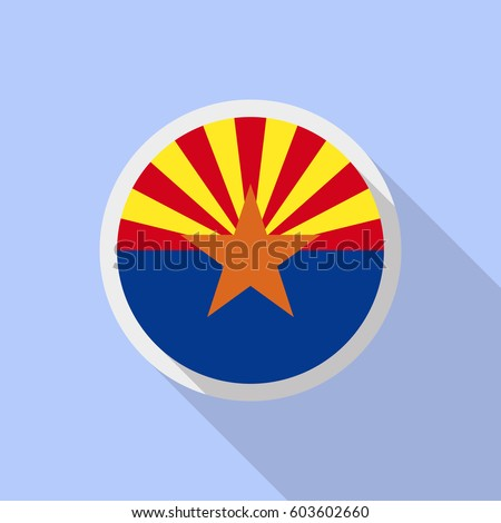Arizona flag in circle shape. Flat style vector image with long shadow