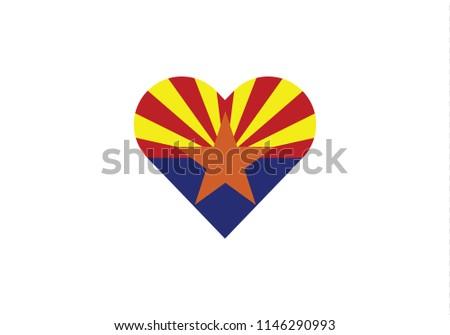Arizona love heart shape american state usa