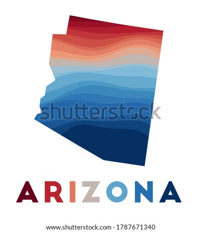 Arizona map. Map of the us state with beautiful geometric waves in red blue colors. Vivid Arizona shape. Vector illustration. Stockfoto ©
