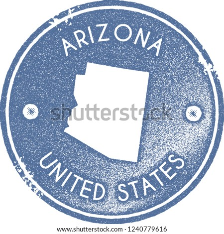 Arizona map vintage stamp. Retro style handmade label, badge or element for travel souvenirs. Light blue rubber stamp with us state map silhouette. Vector illustration.