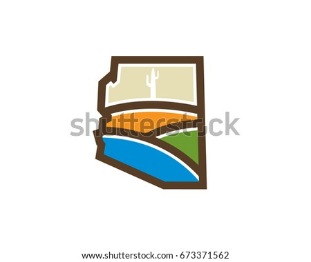 arizona map with valley hill cactus desert plant
