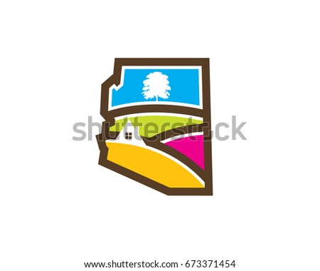 arizona map with valley hill tree house landscape real estate logo