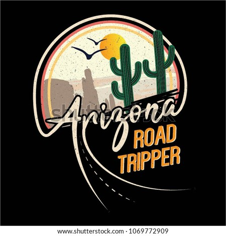 Arizona road tripper cactus with slogan western desert, mountain style t-shirt design, print, typography, label with styled saguaro cactus and rocks. Vector illustration.