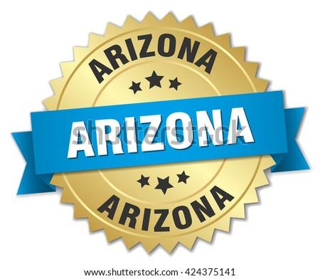 Arizona round golden badge with blue ribbon
