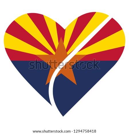 Arizona state heart flag vector