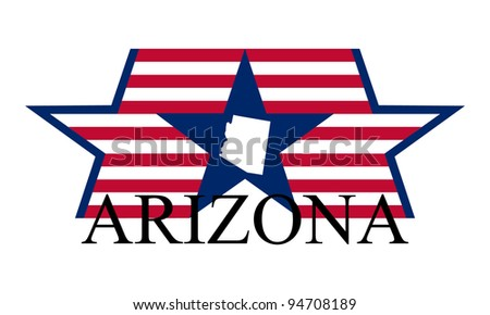 Arizona state map, flag and name.