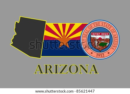 Arizona state map, flag, seal and name. - stock vector