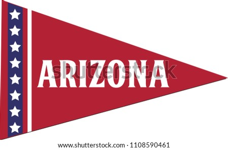 Arizona State Pennant, American Flag, Red White and Blue Banner, Isolated Vector Triangle