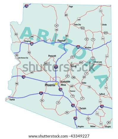 Arizona state road map with Interstates, U.S. Highways and state roads. All elements on separate layers for easy editing.