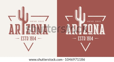 Arizona state textured vintage vector t-shirt and apparel design, typography, print, logo, poster. Global swatches.