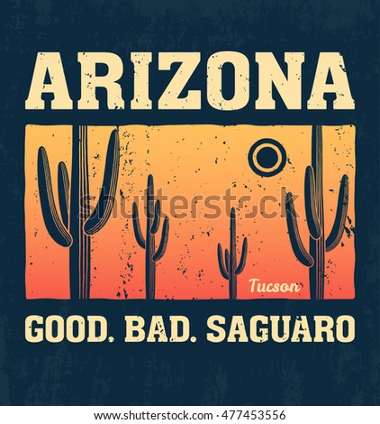 Arizona t-shirt design, print, typography, label with saguaro cactus. Vector illustration.