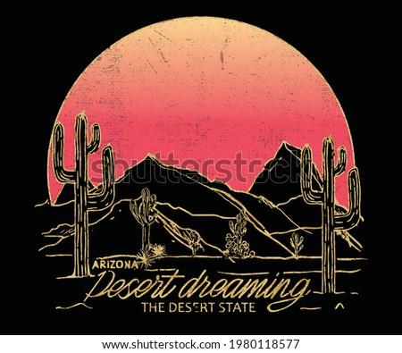 Arizona t-shirt design with  mountains and sun. Desert graphics for tee shirt . Foil desert design.