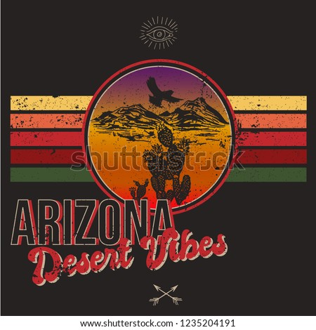 Arizona t-shirt typography with cactus, mountain and eagle. Vintage print for tee shirt graphics, slogan - desert journey. Grunge apparel stamp, poster design. Vector illustration.