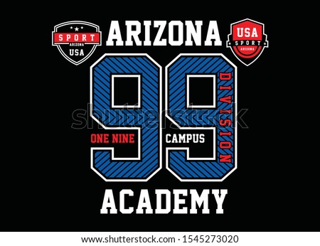 Arizona USA, Academy Division, Typography Graphic Design For T-shirt Print, Vectors