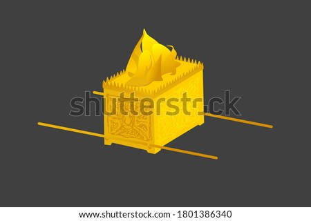 Ark of the Covenant. Old Testament sanctuary furniture religious imagery vector illustration, book of Exodus. This was where the Ten Commandments were kept, covered by the mercy seat. Stockfoto ©
