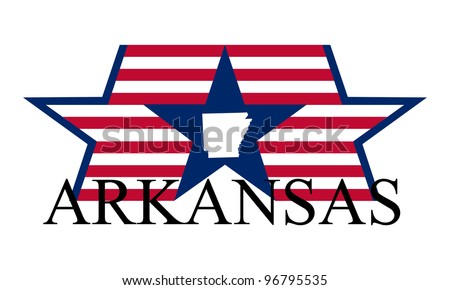 Arkansas state map, flag, and name.