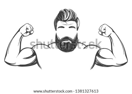 arm, bicep, strong Bearded man hand drawn vector illustration realistic sketch