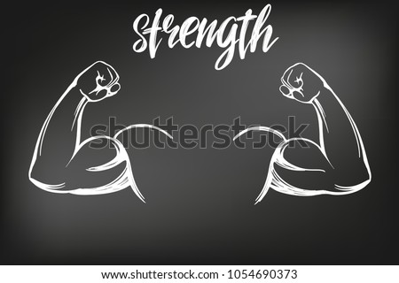 arm, bicep, strong hand icon cartoon calligraphic text symbol hand drawn vector illustration sketch, drawn in chalk on a black Board