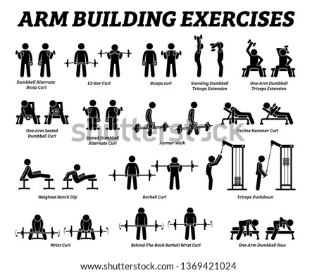 Arm building exercises and muscle building stick figure pictograms. Artworks depict a set of weight training reps workout for arm hand muscle by gym machine and tools with step by step instructions.
