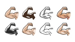 Arm muscles, strong hand icon or symbol. Gym, sports, fitness, health concept. Vector illustration