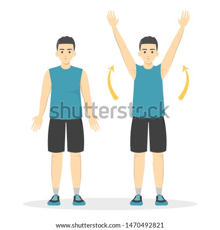 Arm raise exercise. Man in sport clothes doing warm-up before workout. Idea of fitness and healthy lifestyle. Isolated vector illustration in cartoon style