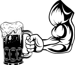 Arm Raised Up With Hand Holding Beer