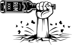 Arm Raised Up With Hand Holding Liquor Bottle