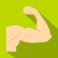 Arm showing biceps muscle icon. Flat illustration of arm showing biceps muscle vector icon for web